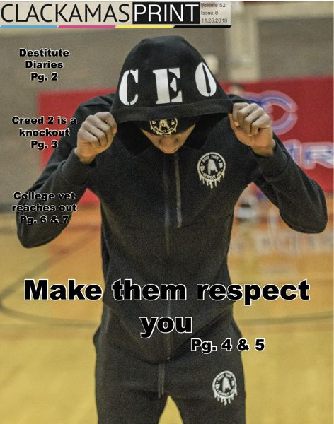 Devon Banks plays basketball for Clackamas Community College and created the Make Them Respect You clothing line. The photo by Jonathan Villagomez ran on the cover of The Clackamas Print on Nov. 28, 2018, and won third place for feature photo among two-year colleges in Oregon.