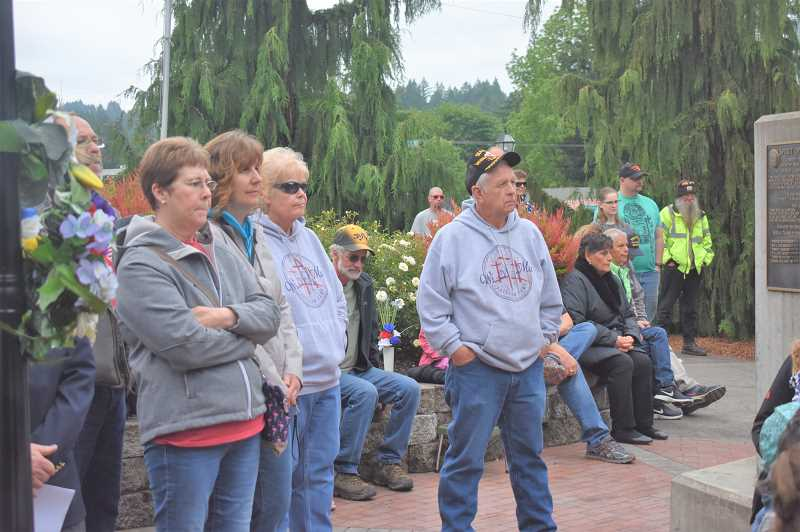 PMG PHOTO: EMILY LINDSTRAND - Estacada residents came together for a Memorial Day ceremony on Monday, May 27.