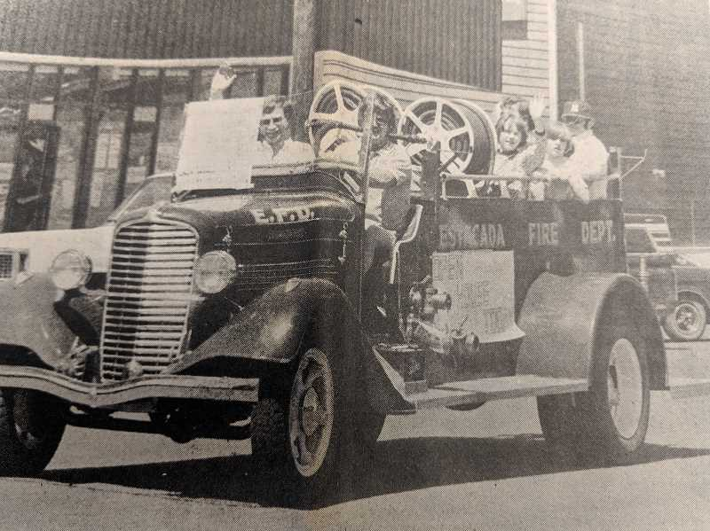 ARCHIVE PHOTO - In 1979, Estacada residents caught a ride on a fire engine in honor of Fire Service Appreciation Day.