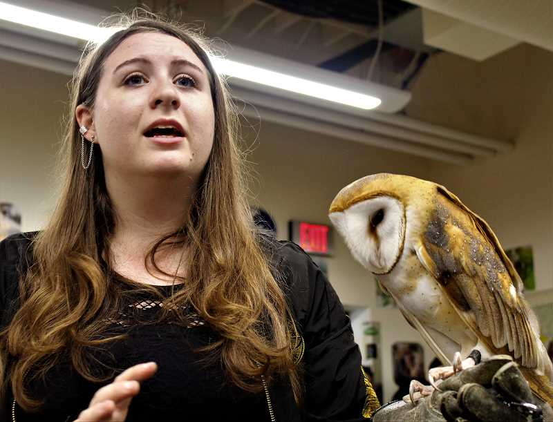 COURTESY PHOTO: KALEIGH HENDERSON - Junior Anya Blankenship leads a workshop called 'Close Encounters with Birds of Prey.'