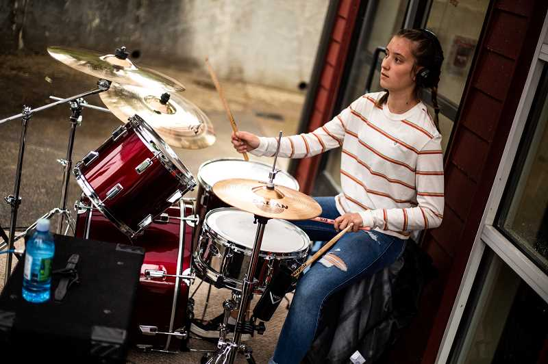COURTESY PHOTO - Mountainside High School sophomore Annistyn Randall plays the drums in Love Circle.