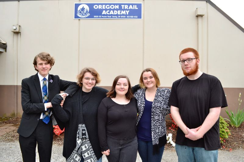 PMG PHOTO: BRITTANY ALLEN - Benjamin Collins, Rogue Tiefenback, Kiah-Lynn Campbell, Charlee Davis and Devon Waldron will graduate from Oregon Trail Academy's IB program on June 7.