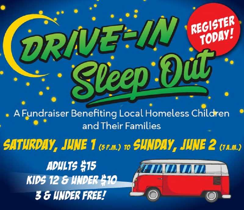 COURTESY FAMILY PROMISE OF TUALATIN VALLEY - The Drive-in, Sleep Out event is set for Saturday at 5 p.m. and lasts until 1 a.m. Sunday at Tualatin Elementary School, 20405 S.W. 95th Ave. Proceeds will benefit local homeless children and their families. Admission includes a parking spot, barbecue dinner, live music
