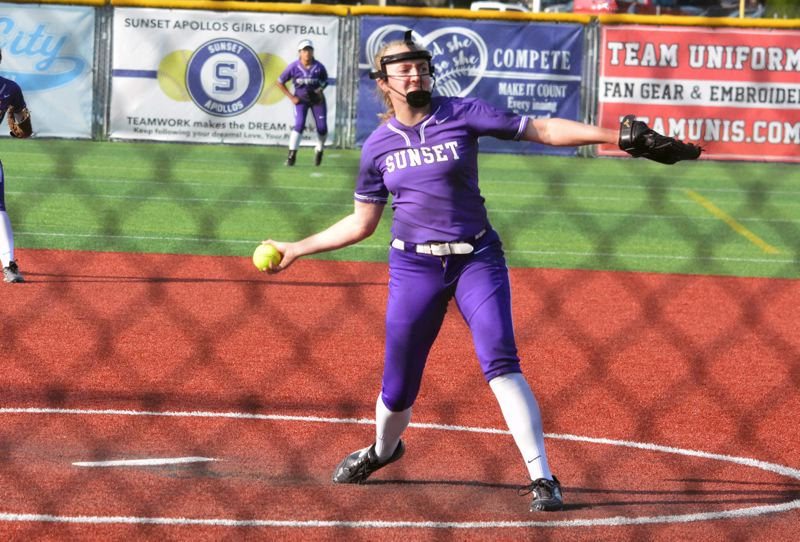 TIMES PHOTO: MATT SINGLEDECKER - Sunset junior Grace Kimball struck out eight hitters and allowed just two runs against Sheldon.