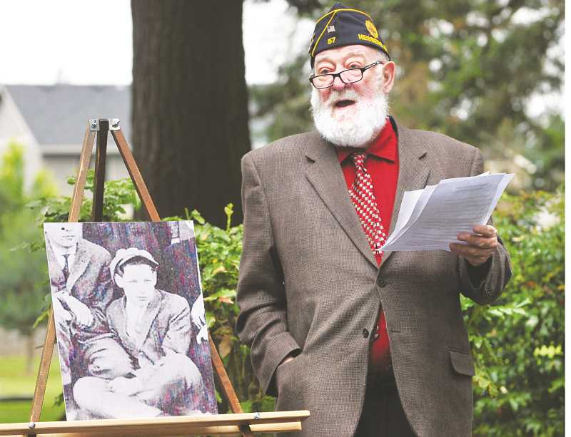 GRAPHIC PHOTO: GARY ALLEN - Historian George Edmonston Jr. recounts the life of Lester C. Rees, a Newberg native that died a century ago during World War I, during a ceremony at Friends Cemetery on Monday. The local American Legion post is named after Rees.