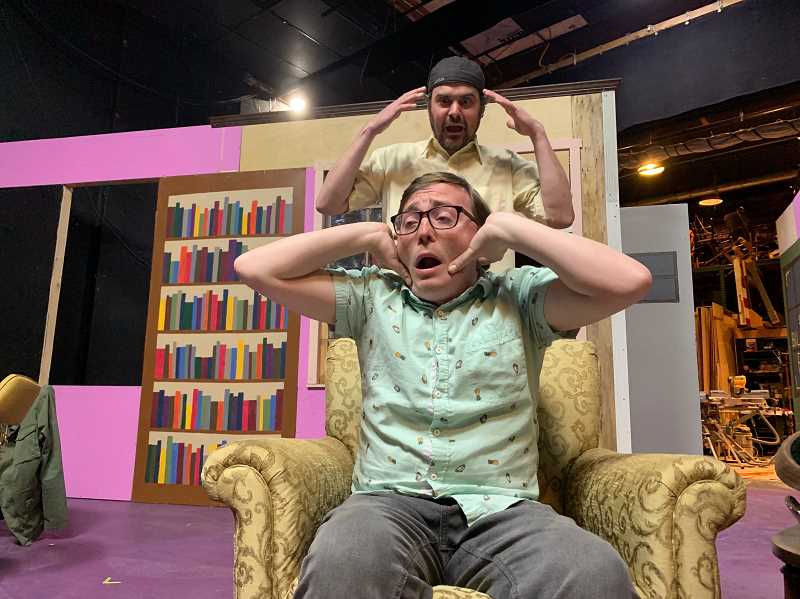 PMG PHOTO: JANAE EASLON - Stevo Clay and Zachary Centers play Oscar and Felix in 'The Odd Couple,' Theatre in the Grove's last show of the 2018-19 season.
