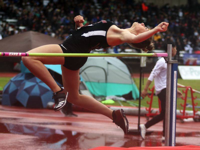 PMG PHOTO: DAN BROOD - Tualatin High School junior Corona Parker placed ninth in the high jump competition at the state meet with a mark of 5-2.