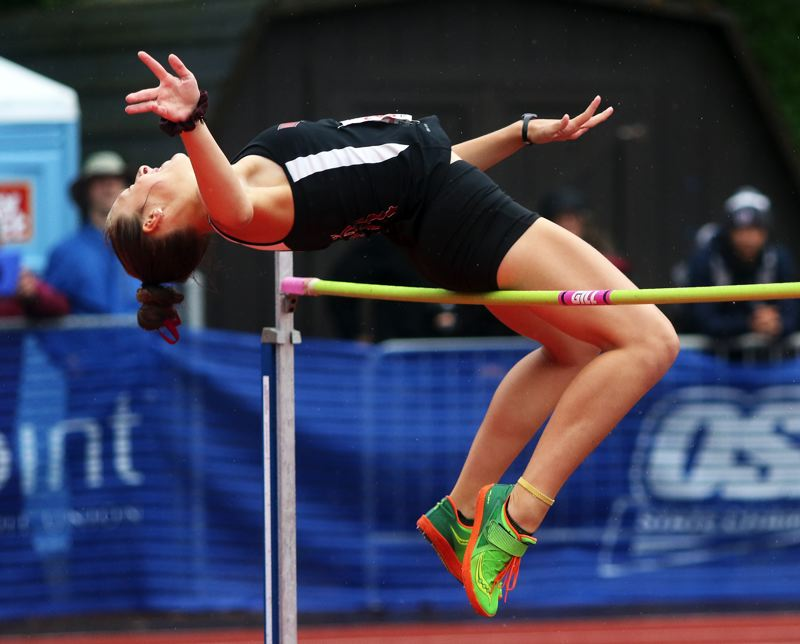PMG PHOTO: DAN BROOD - Tualatin High School junior Savannah Taft placed 10th in the high jump competition at the Class 6A state meet with a mark of 5-2.