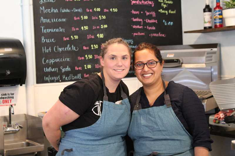 PMG PHOTO: SHELBY COKELEY - Palak Raval and Hillarie Cook greet customers at the front counter from 6 a.m.-5 p.m. for drinks and sandwiches. More information on their business can be found on their Facebook page under Good Intentions Cafe.