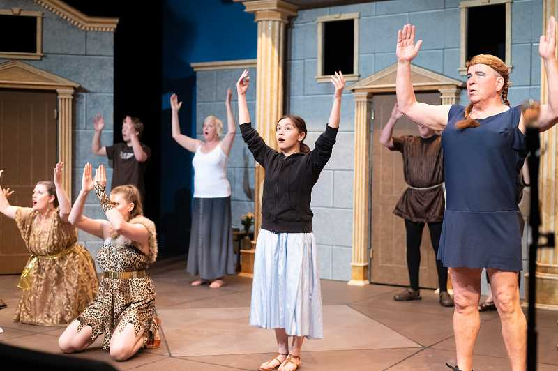 PMG PHOTO: CHRISTOPHER OERTELL - Washington County actors rehearse for the upcoming play, 'A Funny Thing Happened on the Way to the Forum,' for the HART Theatre on Wednesday, May 22, 2019.