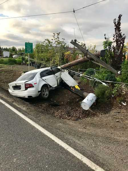 COURTESY PHOTO: CCSO - A single-vehicle crash at Highway 170 and Macksburg on Memorial Day reportedly involved alcohol.