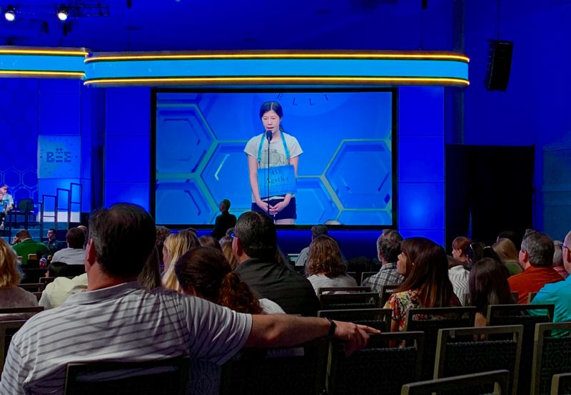 COURTESY ELLEANOR CHIN - Portland speller Agatha Chan nails the letters in ratafia, a type of almond-flavored cookie, during the second round of the 2019 Scripps National Spelling Bee in Washington, D.C.
