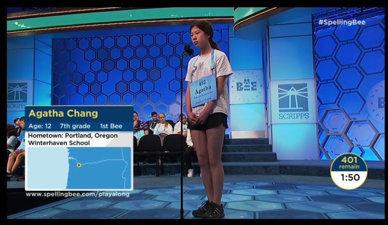 COURTESY ESPN - Agatha Chang participates in the 2019 Scripps National Spelling Bee.