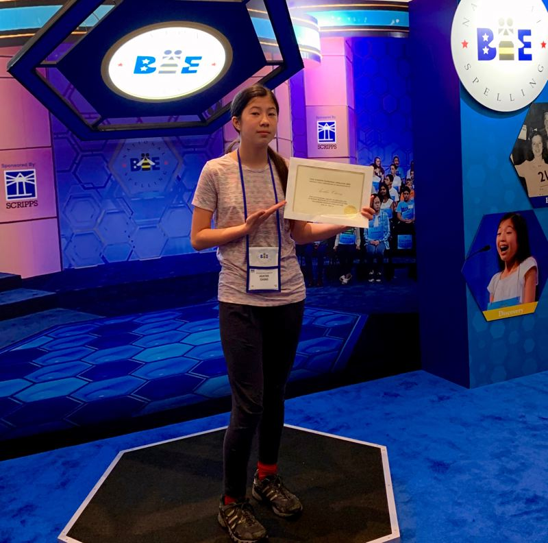 COURTESY ELLEANOR CHIN - Agatha Chang prepares for the 2019 Scripps National Spelling Bee at a media staging area in Washington, D.C.
