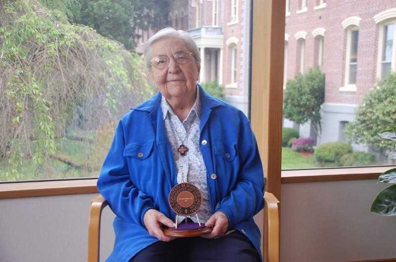 COURTESY OF QUEEN OF ANGELS MONASTERY - Sister Alberta Dieker of Queen of Angels Monastery was honored for lifetime service to three central tenets of University of Portland's mission: teaching and learning; faith and formation; service and leadership.