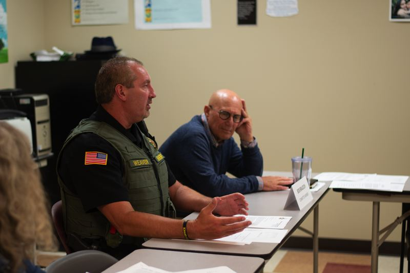 PMG PHOTO: ANNA DEL SAVIO - Captain Tony Weaver, commander of the Columbia County Jail, answers questions at the committee's May meeting. The committee reports to the county commissioners, but Weaver or Sheriff Brian Pixley have attended meetings to provide program updates and answer questions directly.