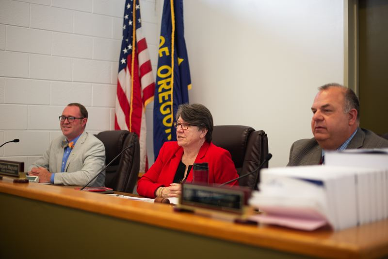 PMG PHOTO: ANNA DEL SAVIO - County Commissioners Alex Tardif, Margaret Magruder and Henry Heimuller at a board meeting in April 2019. The three commissioners will vote on the proposed budget in June, following public hearings.