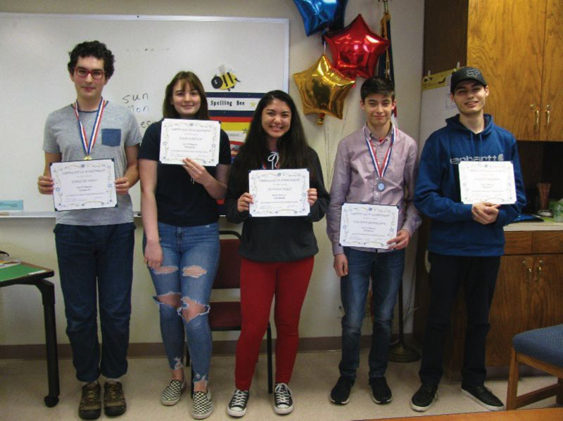 COURTESY PHOTO - From left to right are Diego Blanco, Jade Garvin, Allison Wills, Steven Bembenek and Joseph Maiden, competitors in Division 3 at the Columbia County spelling bee.