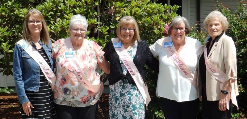 COURTEY PHOTOS: DON CROSS - The five women who have been selected as the 2019 My Fair Lady Court were treated to makeovers before being honored at a tea and luncheon on May 22. Patti Younts, Judy Brown, Deloris Bellingham, Kathy Bauska and Donna Baker, pictured left to right, will take part in the My Fair Lady pageant during the Columbia County Fair in July. The pageant recognizes senior volunteers in the community.
