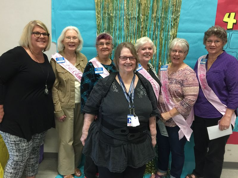 COURTESY PHOTO - Pictured from left to right are McBride Elementary School Principal Lisa Tyler, 2018 My Fair Lady Princess Jeanne Kangas (Clatskanie), Princess Patty St. John (St. Helens), Betty Stuber, Princess Mary Ann Shaw (Vernonia), Princess Sharon Brown (Scappoose) and Queen Carla Bodenhamer (Rainier).