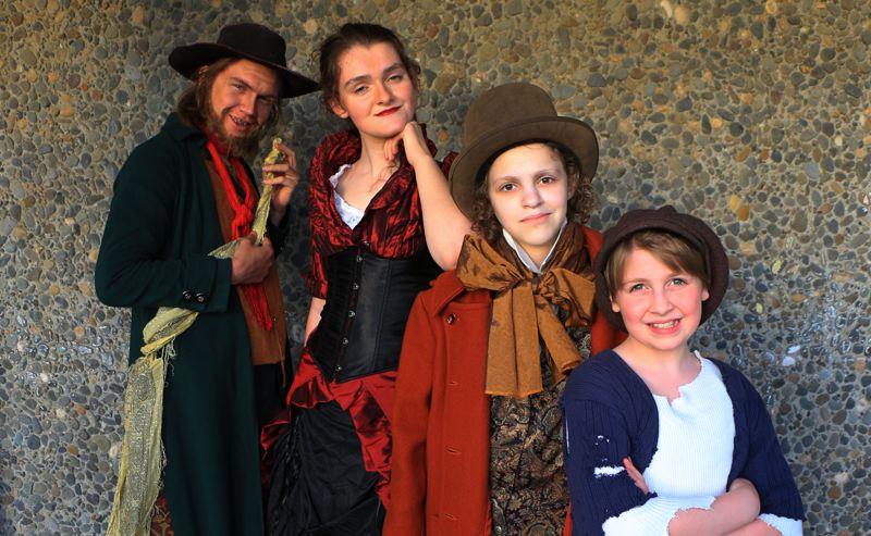 COURTESY PHOTO: EASTSIDE THEATER CO.  - From left, Eastside Theater Co.'s double-cast actors Isaiah Johnson, Julia Kassing, Alissa Cohen and Amanda Bjorklund dress in Victorian England period finery for their roles in Oliver!