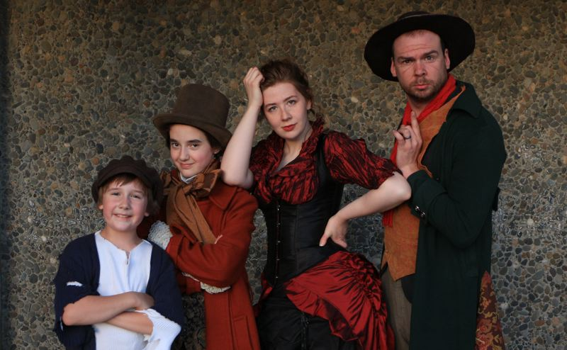COURTESY PHOTO: EASTSIDE THEATER CO.  - From left, Ezra Johnson (Oliver Twist), Sidra Cohen-Mallon (Artful Dodger), Jessie Turner (Nancy) and Josh Johnson (Bill Sikes, Fagin) are doubling the Oliver! roles played, respectively, by Amanda Bjorklund, Alissa Cohen, Julia Kassing and Isiah Johnson.