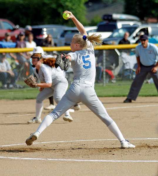 PMG PHOTO: WADE EVANSON - Hillsboro's McKenzie Staub hurls a pitch during the Spartans' game against Dallas Tuesday, May 28, at Hillsboro High School.