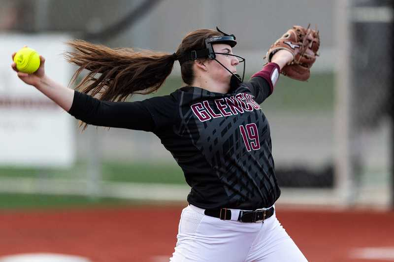 PMG PHOTO: CHRISTOPHER OERTELL - Glencoe's Dana Butterfield during a game earlier this season. Butterfield was selected as the Pacific Conference Pitcher of the Year.