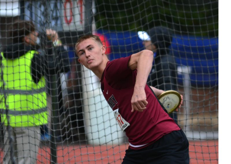 PMG PHOTO: DAVID BALL - Sandys Tanner Brewster prepares to release a throw in the discus ring on his way to fifth place.