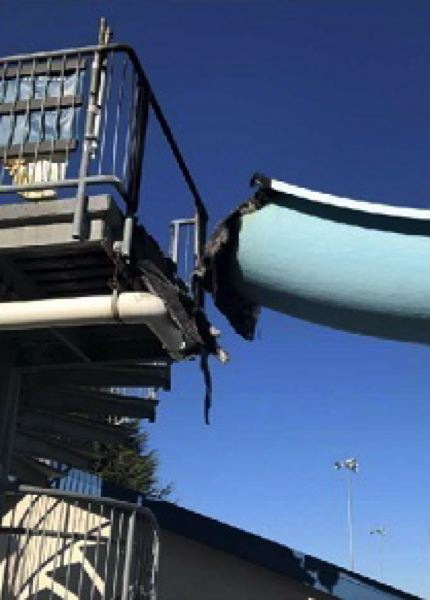 KOIN 6 NEWS - Part of the Wilson Pool slide that was destroyed by fire.