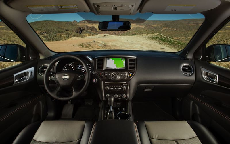 COURTESY NISSAN USA - The interior of the 2019 Nissan Pathfinder is roomy and well designed, and the Rock Creek Edition includes special trim to set it apart.