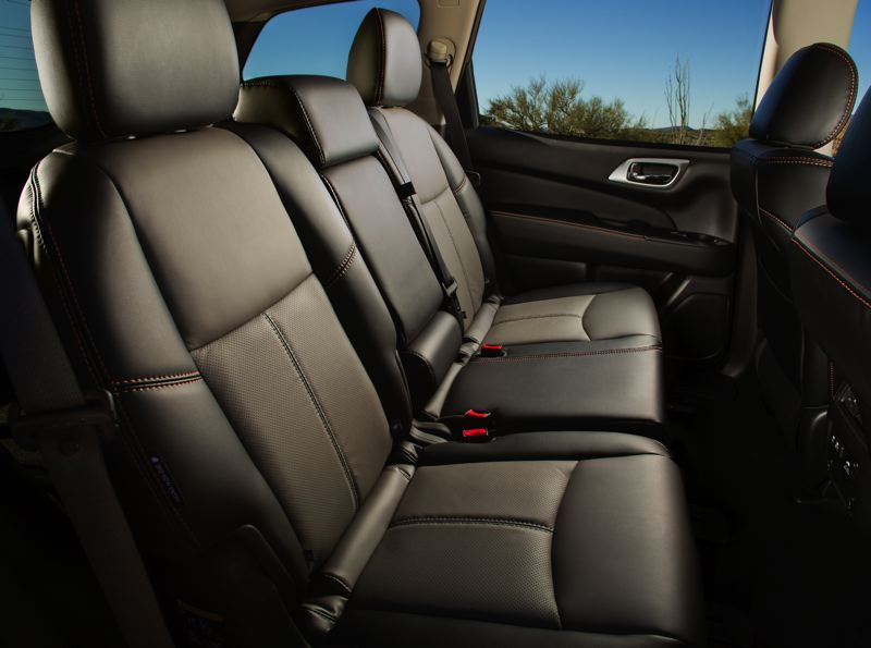 COURTESY NISSAN USA - The rear seats in the 2019 Nissan Pathfinder are comfortable for three adults.
