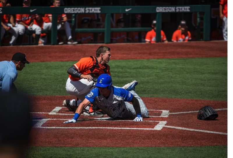 COURTESY PHOTO: MEGAN CONNELLY - Creighton scores a run en route to eliminating Oregon State from the NCAA baseball playoffs.
