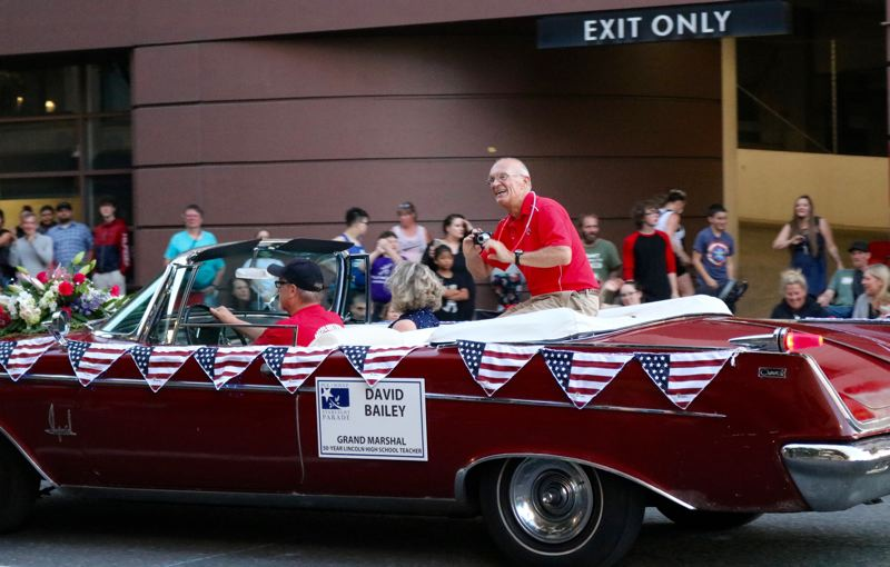 PMG PHOTO: ZANE SPARLING - 2019 Starlight Parade Grand Marshal David Bailey taught more than 12,000 students during his 50-year career at Lincoln High School.