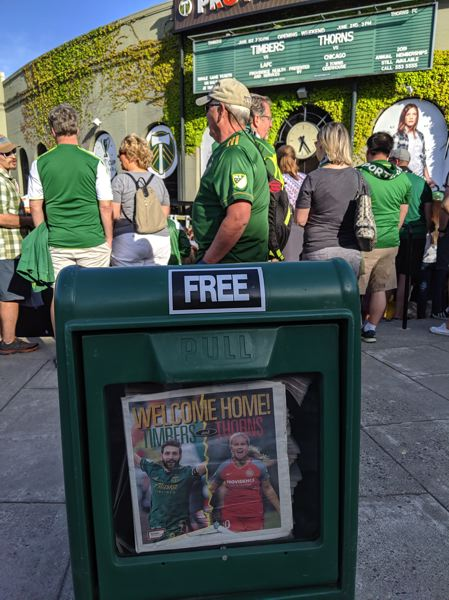PAMPLIN MEDIA GROUP: JOSEPH GALLIVAN  - Timbers fans gather at Providence Park before the home opener with LAFC.