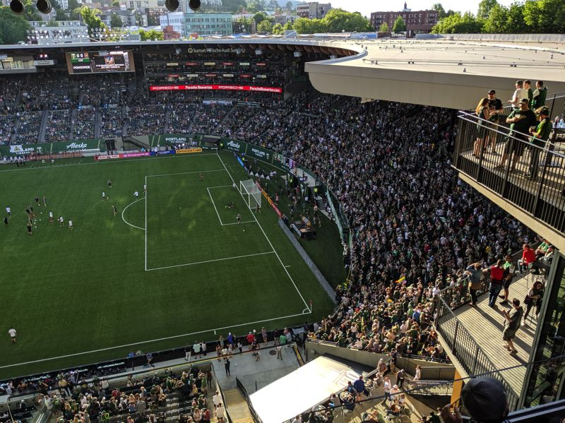 PAMPLIN MEDIA GROUP: JOSEPH GALLIVAN  - Looking west from the top deck of th new east stand, down on the north end and the Timbers Army.