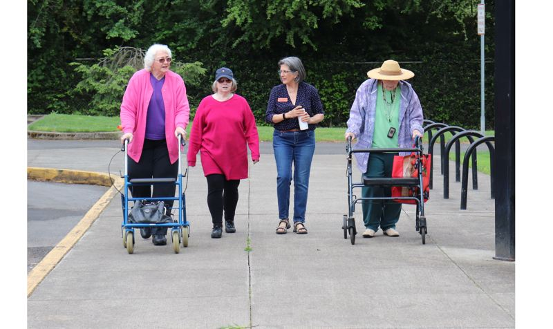 Sara Dover, Mary Manning, Elena Illescas and Joan Carnegie finish the last leg of their stroll around North Clackamas Park.