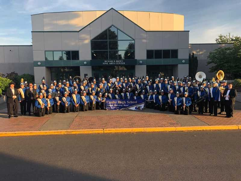 COURTESY PHOTO: PORTLAND ROSE FESTIVAL - The Canby High School band suited up and marched at the high school on Saturday, June 1 after realizing they had no transportation to the Starlight Parade.