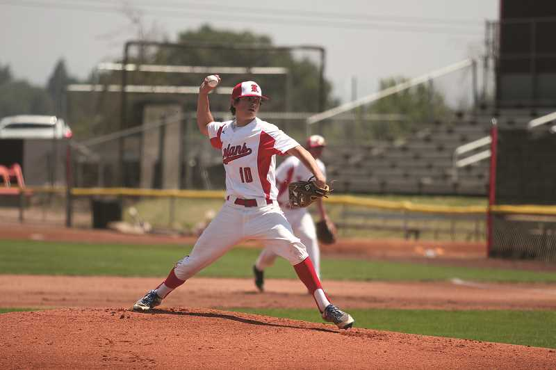 PMG PHOTO: PHIL HAWKINS - Sophomore starter Dylan Kleinschmit pitched the first five innings, striking out four and giving up four earned runs.