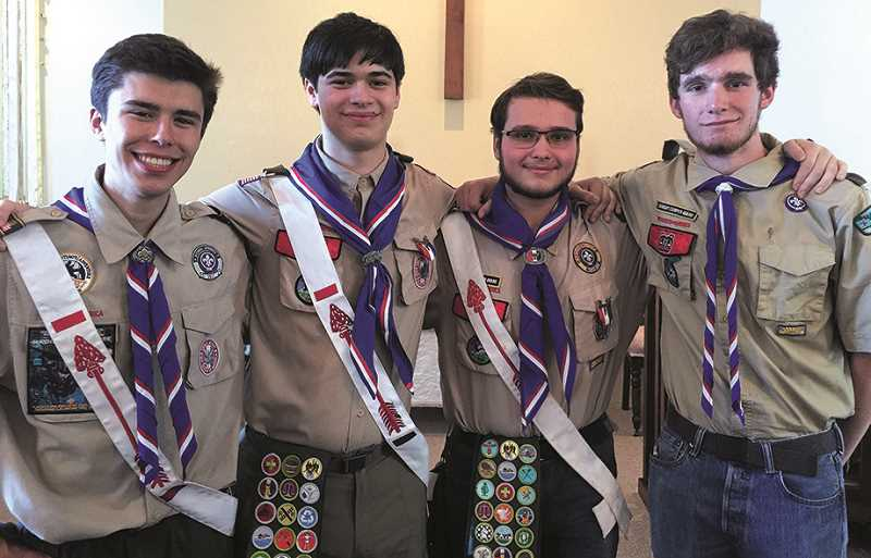 COURTESY PHOTO: JEFF HAMMOCK - Pictured are the latest four scouts of Troop 257 to earn Eagle rank. From left to right are: Connor Bouck, Donald Hammock, Justin Derrick and Reed Schrosk.