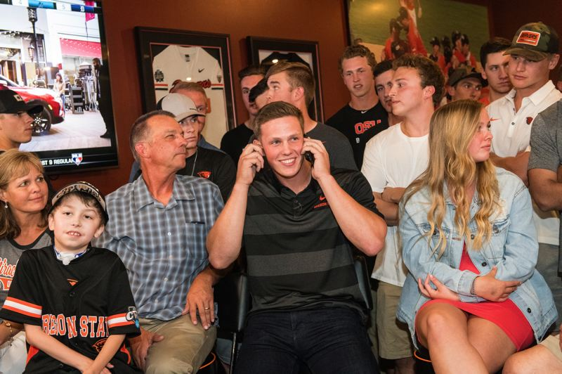 COURTESY PHOTO: KARL MAASDAM - Catcher Adley Rutschman from Oregon State and Sherwood High is drafted No. 1 overall in MLB by the Baltimore Orioles.