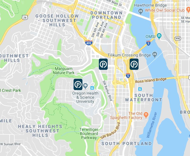 COURTESY: REACHNOW - The three parking garages where ReachNow's 6 BMW fleet can be parked. The cars are just for OHSU staff and can be taken off campus but they must be returned there.