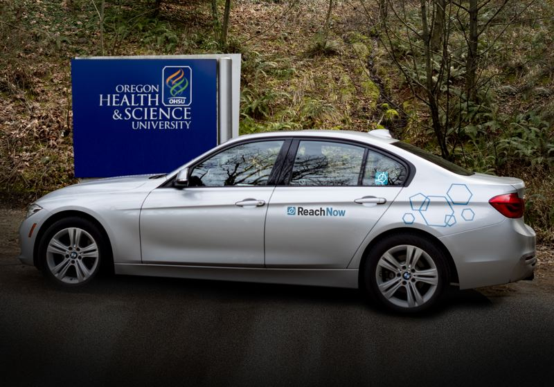 COURTESY: REACHNOW - One of the six BMW 3 series cars available for OHSU staff to use on campus starting June 4, 2019.