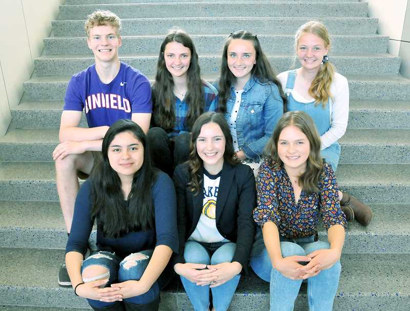 GRAPHIC PHOTO: GARY ALLEN  - Newberg's valedictorians and salutatorian left their marks at NHS. Back row from left to right: Alex Jaczko, Elyse Fawver, Abigail Joyce and Elise Hanna. Front row: Yessica Roldan, Capri Wheaton and Moriah Reid.