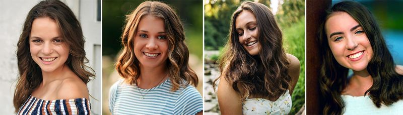 COURTESY PHOTOS - West Linn seniors (from left) Hannah Burk, Alyx Burkhartzmeyer, Erin Kelly and Katie Schoenborn were recently named as winners of Willamette United Football Club's 2019 Roger Hepburn College Scholarship.
