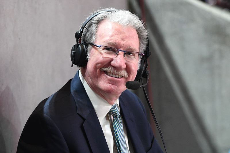 PMG PHOTO: CHRISTOPHER OERTELL     - Jim Barnett, former Oregon Ducks star and Trail Blazers guard, has become an institution with the NBA champion Golden State Warriors as their long-time television analyst.