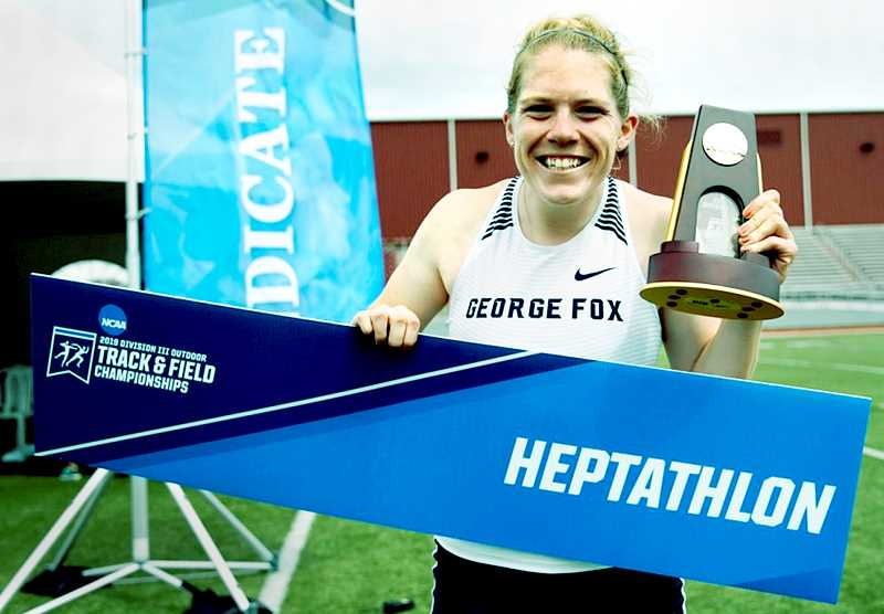 PHOTO COURTESY OF GFU - Senior heptathlete Annie Wright earned the 25th individual national title in George Fox University history last month.