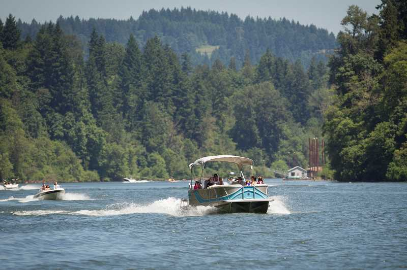 PMG PHOTO: JAIME VALDEZ - The section of the Willamette River near Wilsonville is said to be one of the more congested parts of the Newberg Pool.  The Oregon state Legislature is considering bills that would address erosion prevention and boater education.