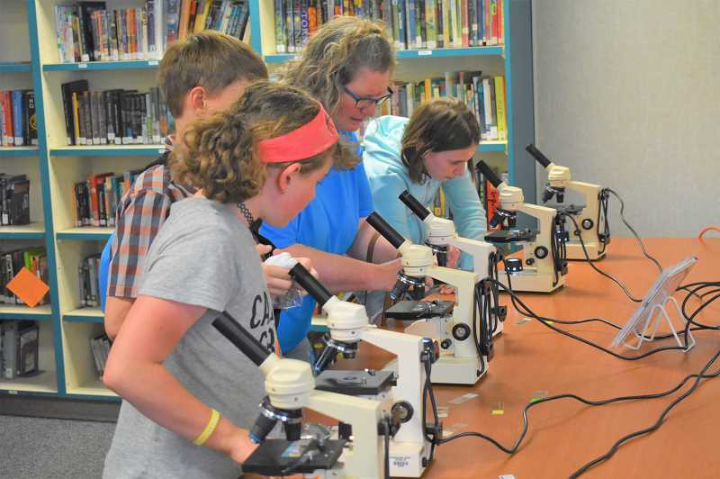 PMG PHOTO: EMILY LINDSTRAND - Attendees of Estacada Middle School's science night last week work with microscopes.