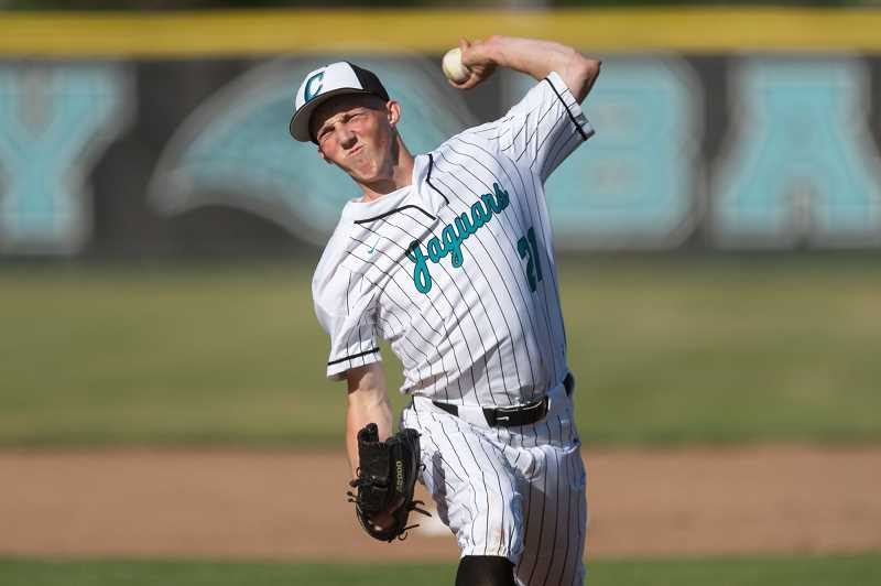 PMG PHOTO: CHRISTOPHER OERTELL - Century's Micky Thompson throws a pitch during a game this past season. The Jaguar senior was selected the Pacific Conference Pitcher of the Year.